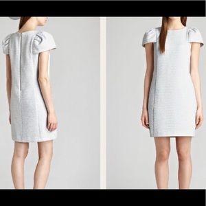 Reiss Puff Sleeve Tweed Shift Dress